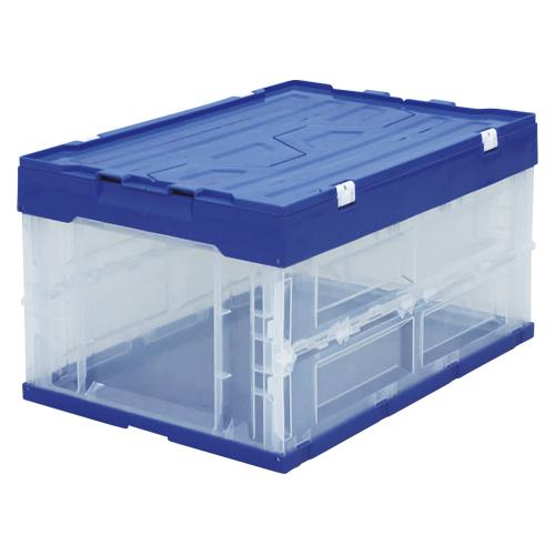 【まとめ買い10個セット品】ハード折りたたみコンテナフタ一体型 ブルー/クリア HDOH-40L ブルー/クリア 1個 アイリスオーヤマ