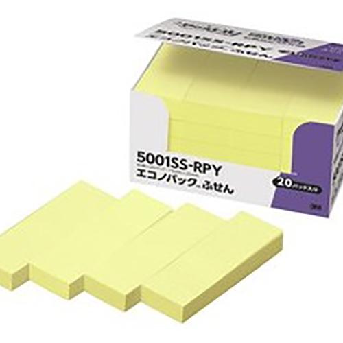 【まとめ買い10個セット品】 ポスト・イット[R] 強粘着製品 単品/5個入/エコノパック[TM] 製品シリーズ/パワーパック  エコノパック 5001SS-RPY イエロー