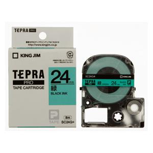 【まとめ買い10個セット品】 「テプラ」PRO SRシリーズ専用テープカートリッジ  カラーラベル [パステル] 8m SC24G 緑 黒文字