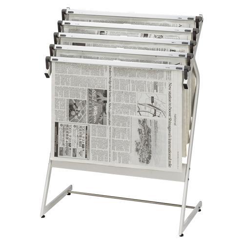 【まとめ買い10個セット品】 新聞架 スチール製 5本タイプ CR-SN551-W ホワイトグレー