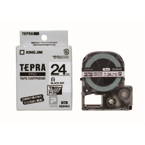 【まとめ買い10個セット品】「テプラ」PRO SRシリーズ専用テープカートリッジ 下地がかくせるラベル 5m SS24KU 白 黒文字 1巻5m キングジム