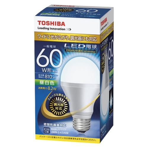 【まとめ買い10個セット品】E-CORE[イー・コア] LED電球 一般電球形 光が広がるタイプ 全光束810lm 調光器具対応 LDA8N-G-K/D/60W 1個 東芝 【メーカー直送/代金引換決済不可】