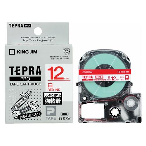 【まとめ買い10個セット品】「テプラ」PRO SRシリーズ専用テープカートリッジ 強粘着ラベル 8m SS12RW 白 赤文字 1巻8m キングジム