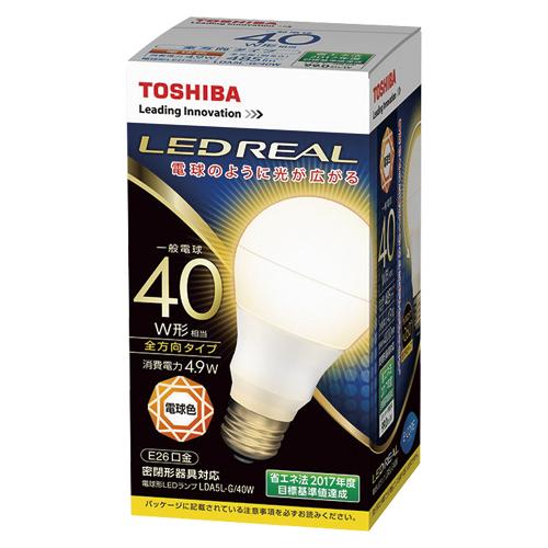 【まとめ買い10個セット品】E-CORE[イー・コア] LED電球 一般電球形 全方向タイプ 全光束485lm LDA5L-G/40W 1個 東芝 【メーカー直送/代金引換決済不可】