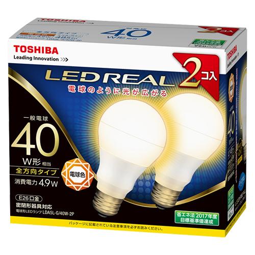 【まとめ買い10個セット品】E-CORE[イー・コア] LED電球 一般電球形 全方向タイプ 全光束485lm LDA5L-G/40W-2P 2個 東芝 【メーカー直送/代金引換決済不可】