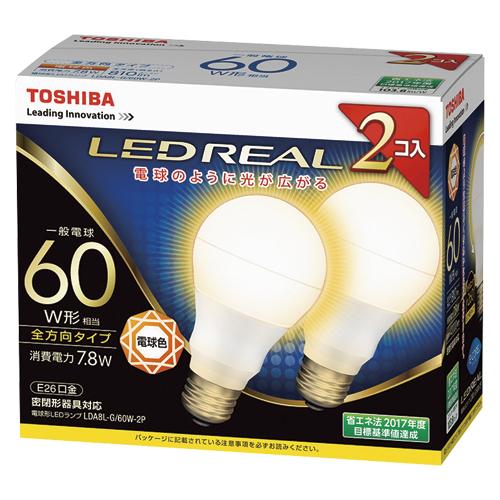 【まとめ買い10個セット品】E-CORE[イー・コア] LED電球 一般電球形 全方向タイプ 全光束810lm LDA8L-G/60W-2P 2個 東芝 【メーカー直送/代金引換決済不可】