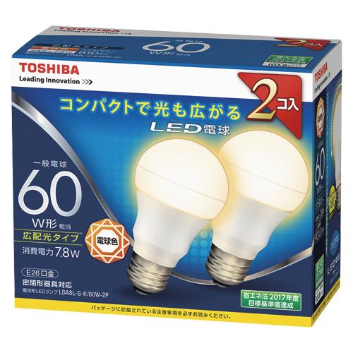【まとめ買い10個セット品】E-CORE[イー・コア] LED電球 一般電球形 広配光タイプ 全光束810lm LDA8L-G-K/60W-2P 2個 東芝 【メーカー直送/代金引換決済不可】