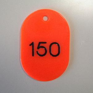 【まとめ買い10個セット品】番号札 小判型・スチロール製 番号入(連番) CR-BG32-R 赤 100枚1セット クラウン【 事務用品 名札 番号札 番号札 】