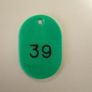 【まとめ買い10個セット品】番号札 小判型・スチロール製 番号入(連番) CR-BG31-G 緑 100枚1セット クラウン【 事務用品 名札 番号札 番号札 】