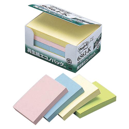【まとめ買い10個セット品】 ポスト・イット[R] 製品 単品/エコノパック[TM]製品シリーズ/パワーパック  エコノパック 6561-K 混色(イエロー、ピンク、ブルー、グリーン)