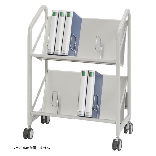 【まとめ買い10個セット品】 ファイルサポートワゴン 2段タイプ CR-FSW260-W ホワイトグレー