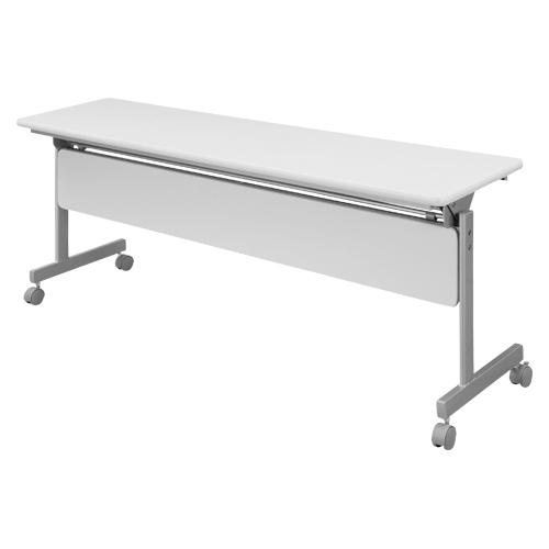 【まとめ買い10個セット品】 跳上式スタックテーブル 幕板付き KSMI845-NW ネオホワイト