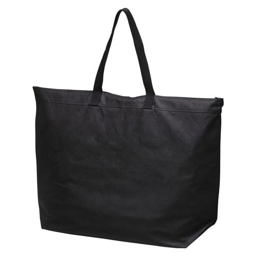 【まとめ買い10個セット品】不織布バッグ 大 マチ・ファスナー付き FB-FLBK ブラック 5枚 サンナップ