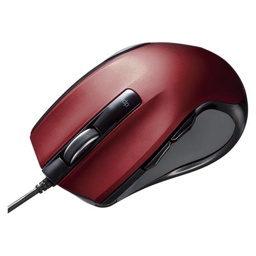 【まとめ買い10個セット品】有線ブルーLEDマウス MA-BL11R レッド 1個 サンワサプライ