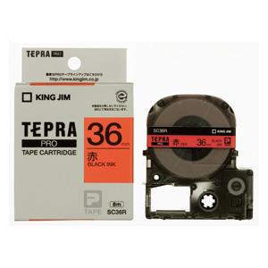 【まとめ買い10個セット品】「テプラ」PRO SRシリーズ専用テープカートリッジ カラーラベル [パステル] 8m SC36R 赤 黒文字 1巻8m キングジム【 オフィス機器 ラベルライター テプラテープ 】
