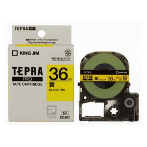 【まとめ買い10個セット品】 「テプラ」PRO SRシリーズ専用テープカートリッジ  カラーラベル [パステル] 8m SC36Y 黄 黒文字