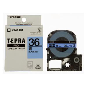 【まとめ買い10個セット品】「テプラ」PRO SRシリーズ専用テープカートリッジ カラーラベル [パステル] 8m SC36B 青 黒文字 1巻8m キングジム【 オフィス機器 ラベルライター テプラテープ 】