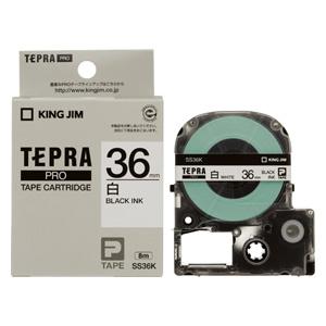 【まとめ買い10個セット品】「テプラ」PRO SRシリーズ専用テープカートリッジ 白ラベル 8m SS36K 白 黒文字 1巻8m キングジム【 オフィス機器 ラベルライター テプラテープ 】