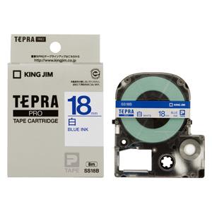 【まとめ買い10個セット品】「テプラ」PRO SRシリーズ専用テープカートリッジ 白ラベル 8m SS18B 白 青文字 1巻8m キングジム【 オフィス機器 ラベルライター テプラテープ 】