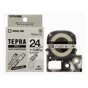 【まとめ買い10個セット品】「テプラ」PRO SRシリーズ専用テープカートリッジ ケーブル表示ラベル 8m SV24K 白 黒文字 1巻8m キングジム【 オフィス機器 ラベルライター テプラテープ 】