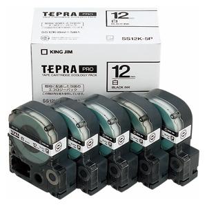 【まとめ買い10個セット品】 「テプラ」PRO SRシリーズ専用テープカートリッジ 5巻入 エコパック 8m5巻入 SS12K-5P 白 黒文字