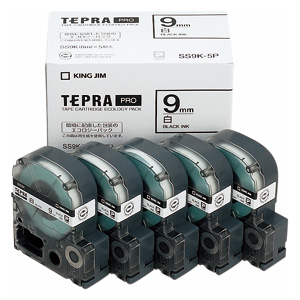 【まとめ買い10個セット品】「テプラ」PRO SRシリーズ専用テープカートリッジ エコパック 8m5巻入 SS9K-5P 白 黒文字 5巻(1巻8m) キングジム