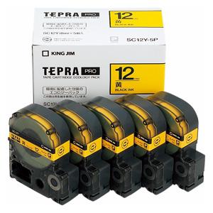 【まとめ買い10個セット品】「テプラ」PRO SRシリーズ専用テープカートリッジ エコパック 8m5巻入 SC12Y-5P 黄 黒文字 5巻(1巻8m) キングジム