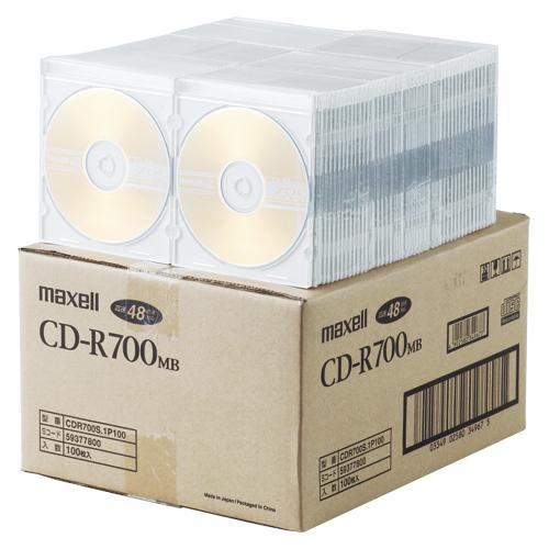 【まとめ買い10個セット品】PC DATA用 CD-R パソコンデータ用1回記録タイプ 2-48倍速対応 CDR700S.1P100 100枚 maxell【 PC関連用品 メディア メディア収納 CD-R 】