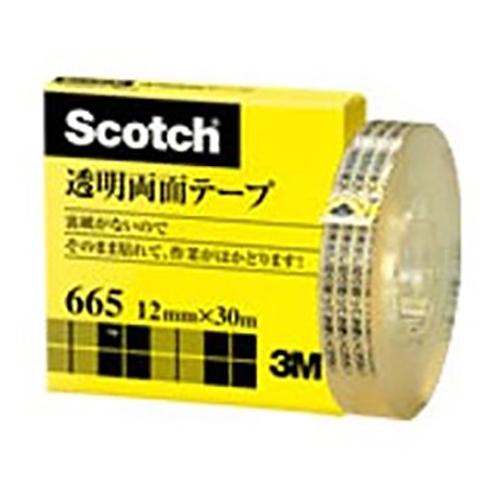 【まとめ買い10個セット品】スコッチ[R] 透明両面テープ 裏紙(はく離紙)なし 665-1-12 1巻 スリーエム【 事務用品 貼 切用品 両面テープ 】