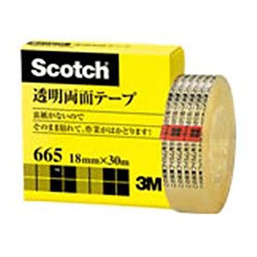 【まとめ買い10個セット品】スコッチ[R] 透明両面テープ 裏紙(はく離紙)なし 665-1-18 1巻 スリーエム【 事務用品 貼 切用品 両面テープ 】