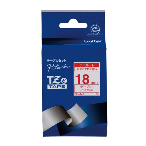 crw-09873 超人気 ピータッチ用 テープカートリッジ ラミネートテープ 赤文字 国際ブランド 白 8m TZe-242