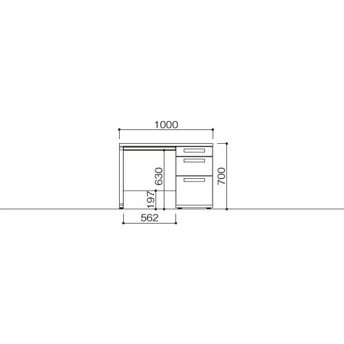 オフィスデスク 片袖机 LDC-K107-R3(WH) ホワイト/ホワイト