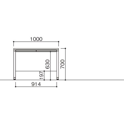 オフィスデスク 平机 LDC-H107(WH) ホワイト/ホワイト