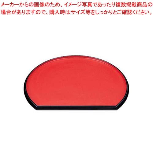 【まとめ買い10個セット品】 半月両面盆 尺3寸 朱乾漆/梨地 ABS樹脂 1-82-9