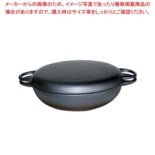 【まとめ買い10個セット品】 鉄 ニューラウンド万能鍋 特大 F-158(木台付き)【 卓上鍋・焼物用品 】