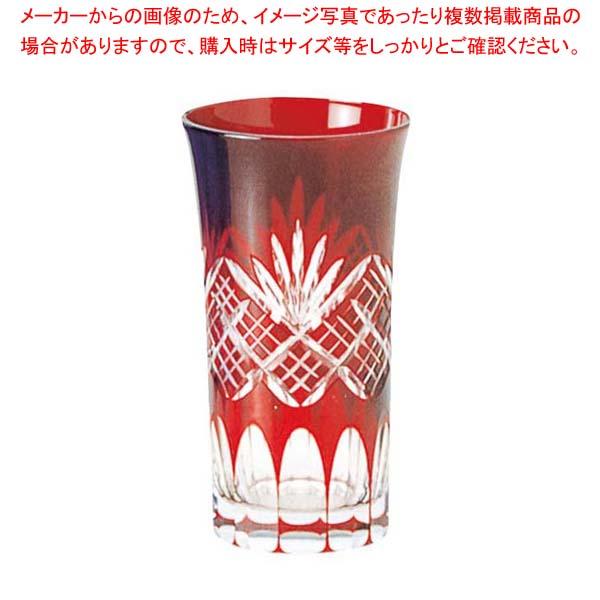 【まとめ買い10個セット品】 江戸切子 剣矢来・一口ビール 赤 96-681-9
