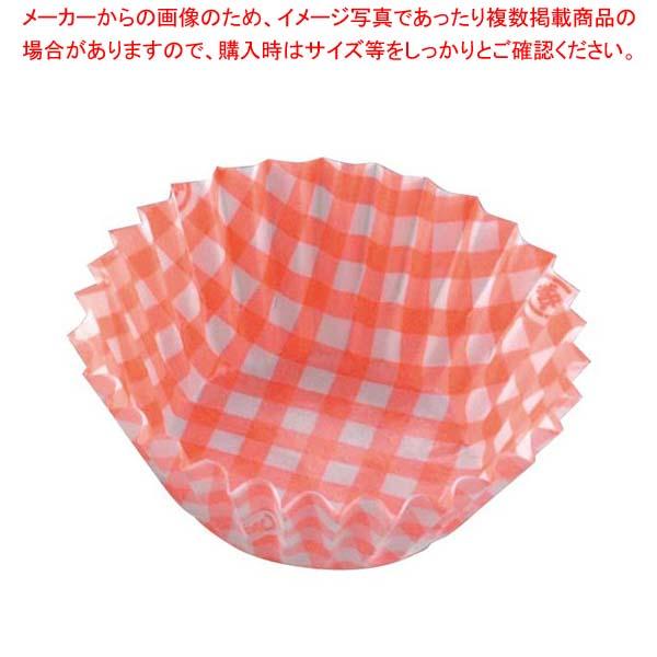 【まとめ買い10個セット品】 紙ケースカラー(500枚入)5号 深口 チェック赤
