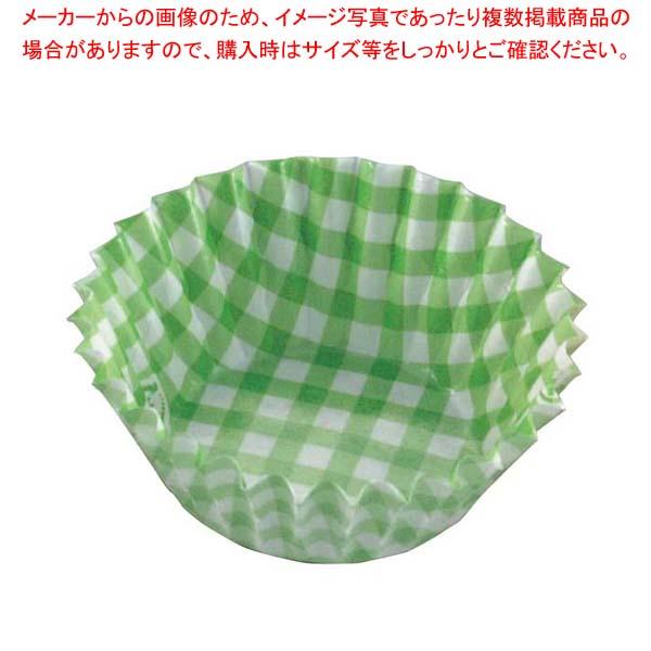 【まとめ買い10個セット品】 紙ケースカラー(500枚入)6号 深口 チェック緑