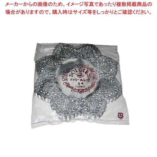 【まとめ買い10個セット品】 ドイリー レースペーパー 丸型 銀(500枚入)6号