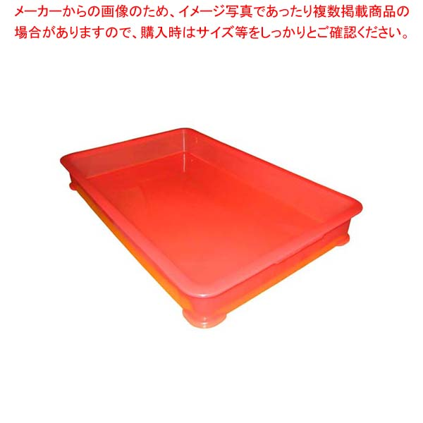 【まとめ買い10個セット品】 EBM PP半透明カラー番重 B型 大 レッド(サンコー製)【 運搬・ケータリング 】