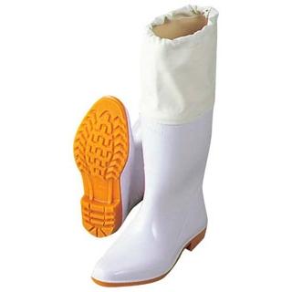 【まとめ買い10個セット品】 アキレス 長靴 カバー付フラット型 ホワイトTL 28cm【 ユニフォーム 】