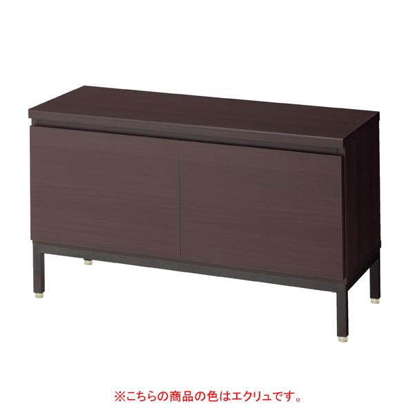 木製収納BOXロー/黒革風脚 エクリュ W90 H53.5cm