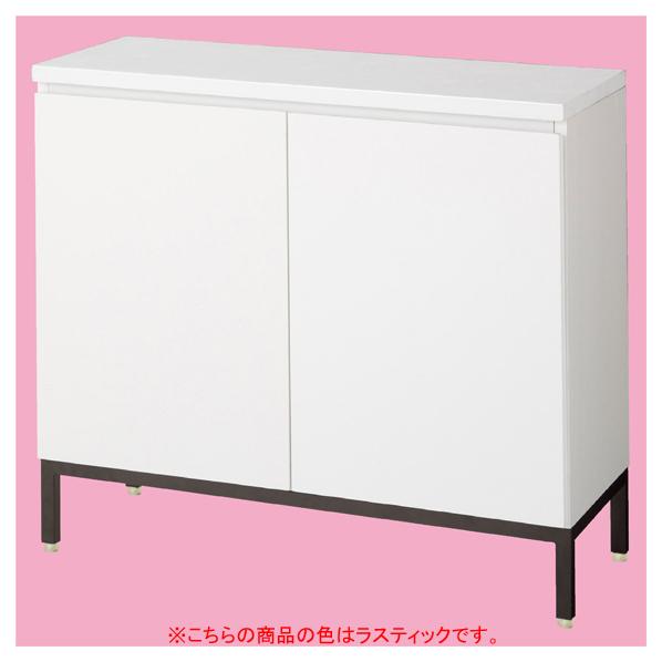 木製収納BOXハイ/黒革風脚 ラスティック W90cm