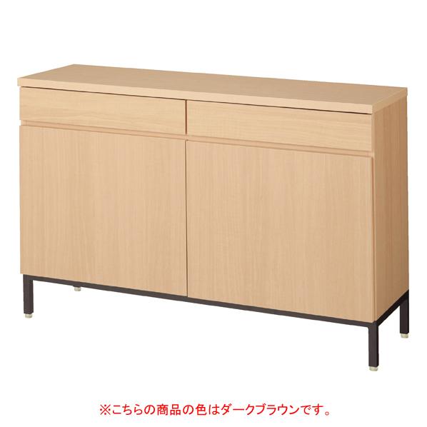 木製収納ボックス W90cm 抽斗+扉 ダークブラウン 黒革風塗装脚