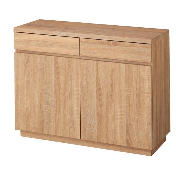 木製収納ボックス W90cm 抽斗+扉 ホワイト 台輪タイプ