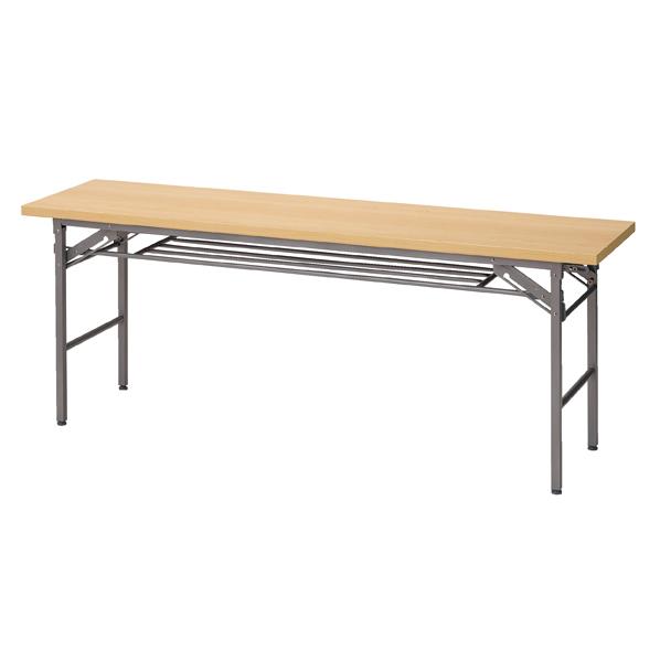 折りたたみテーブル棚付180×45cmナチュラル5台