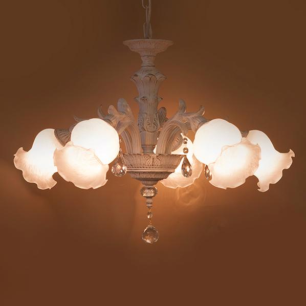 クラシカルシャンデリア6灯Grace(グレース) ホワイトブラッシュゴールド