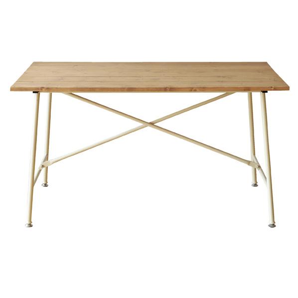 天然木Xスチール脚テーブルW130cm ホワイト 【 店舗什器 ディスプレイ用テーブル テーブル(木製天板) 天然木×スチール脚テーブル ホワイト 】