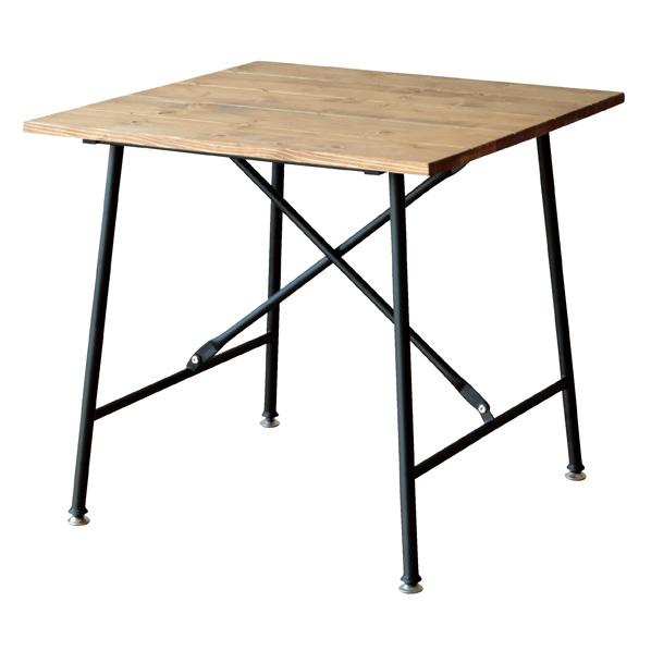 天然木Xスチール脚テーブルW75cm ブラック