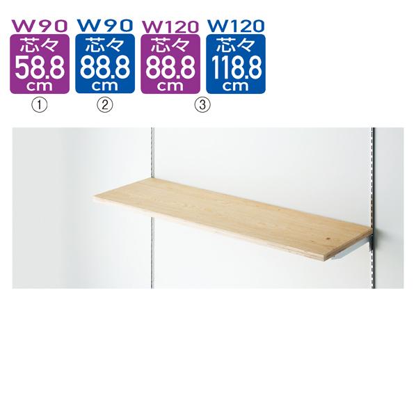 木棚セットW120×D40cm ラーチ合板t24mm (ダボ8穴/芯々888・1188/透明ローカン)